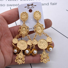Charm Baroque Men Head Coin Pearl Earrings Vintage Flower Tassel Dangle For Women New Fashion Jewelry Wholesale Hot