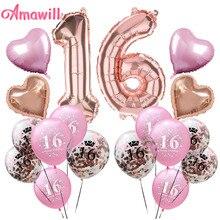 Amawill сладкий 16th День Рождения украшения номер 16 воздушные шары розовый 16th латексные шары День рождения шар для взрослых 75D