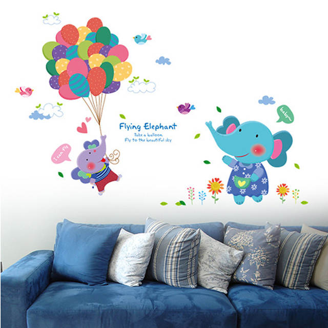 Tofok Rabbit Balloon DIY Wall Stickers Children Bedroom Living Room Cartoon  Wall Decals Nursery Wall Decoration Furniture Mural