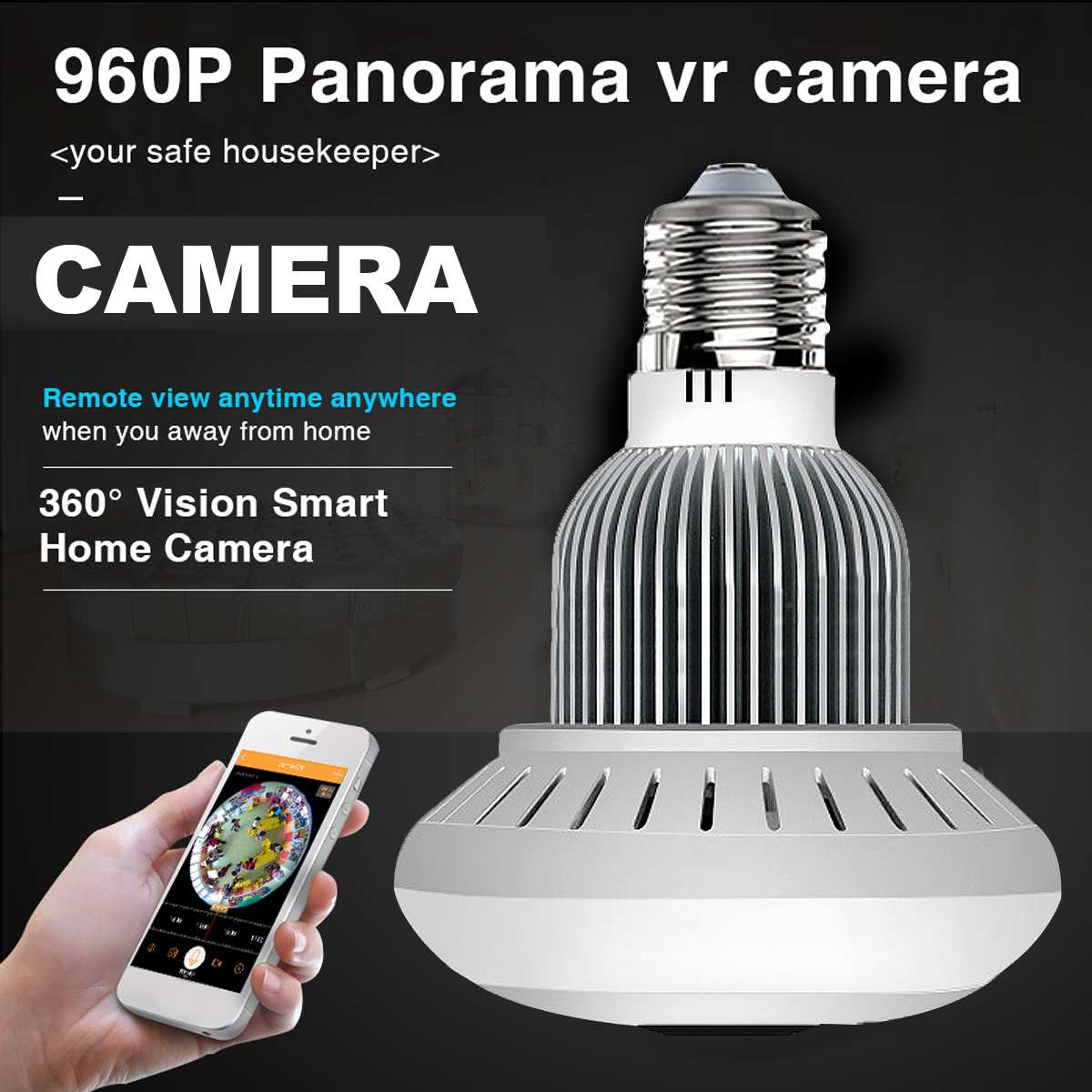 WiFi Wireless Panoramic 960P Light Bulb IP Camera Lamp APP Control Bulb Camera Two Way Talk
