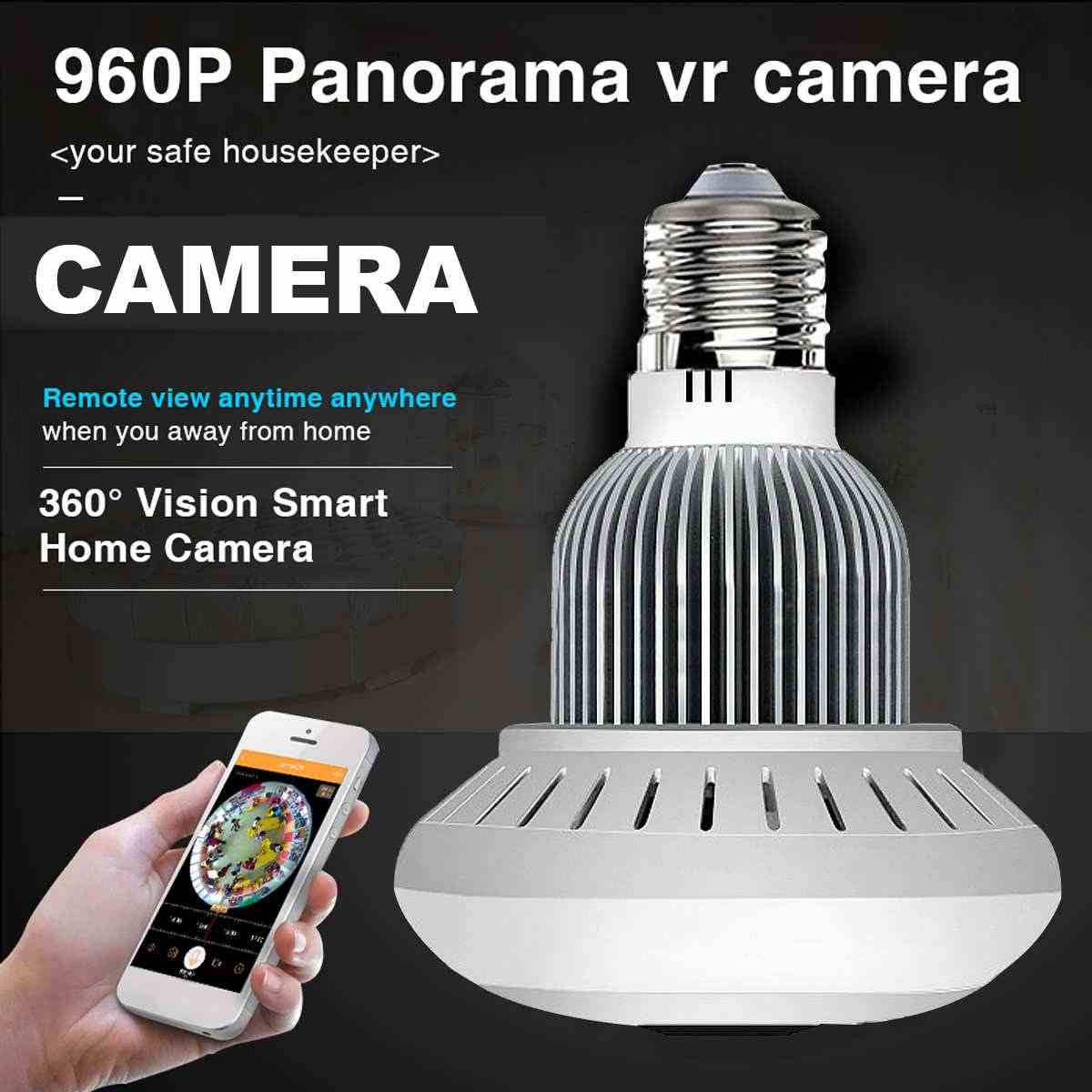 WiFi Wireless Panoramic 960P Light Bulb IP Camera Lamp APP Control Bulb Camera Two Way Talk Audio VR Security Bulb WIFI camera