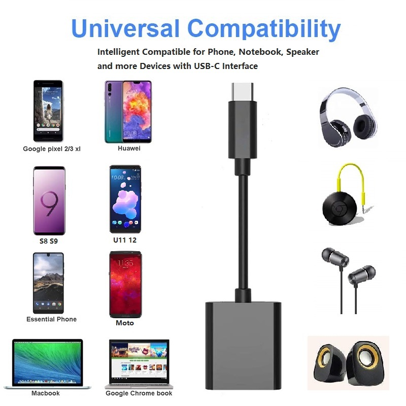 Image 5 - 2 in 1 USB C 3.5mm Adapter Type C to 3.5mm Adapter PD3.0 Charging for Google Essential Huawei U11 S8 S9 HTC Macbook Chrom G6 V20