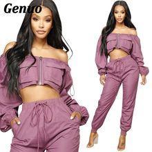 Autumn Women Two Piece Set Long Sleeve Crop Top Pullover and Jogging Pants Purple 2 2018 Fashion Outfits