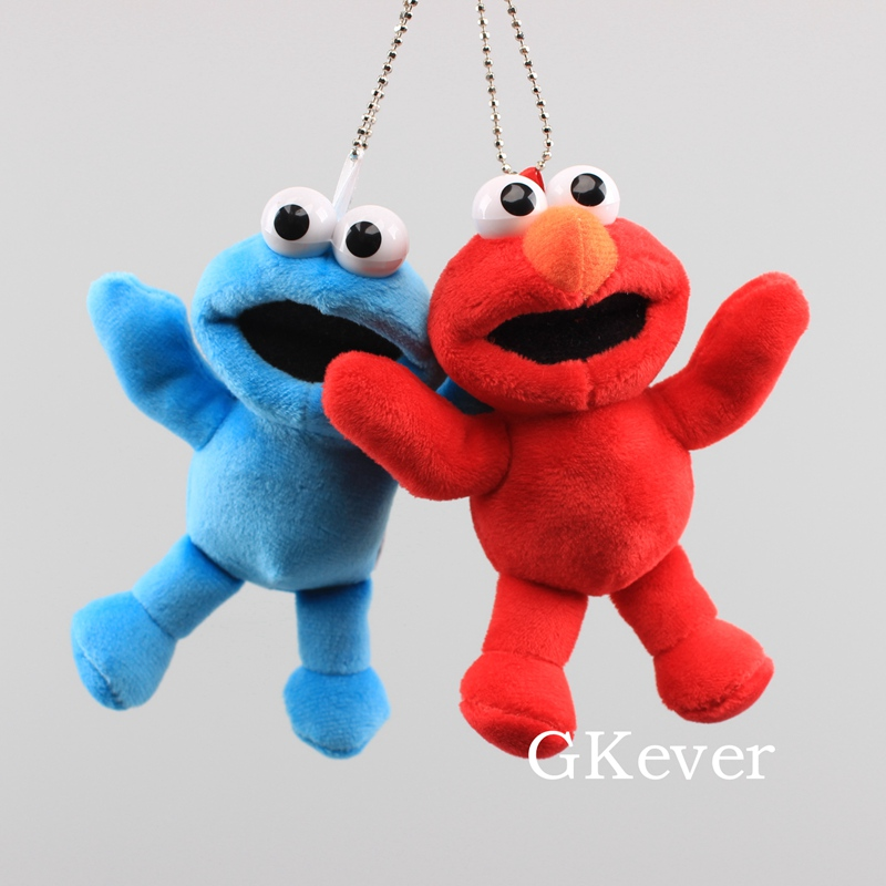 Sesame Street Elmo Plush Keychain Stuffed Soft Pendant Cartoon Cute Character Toys For Children 13 Cm