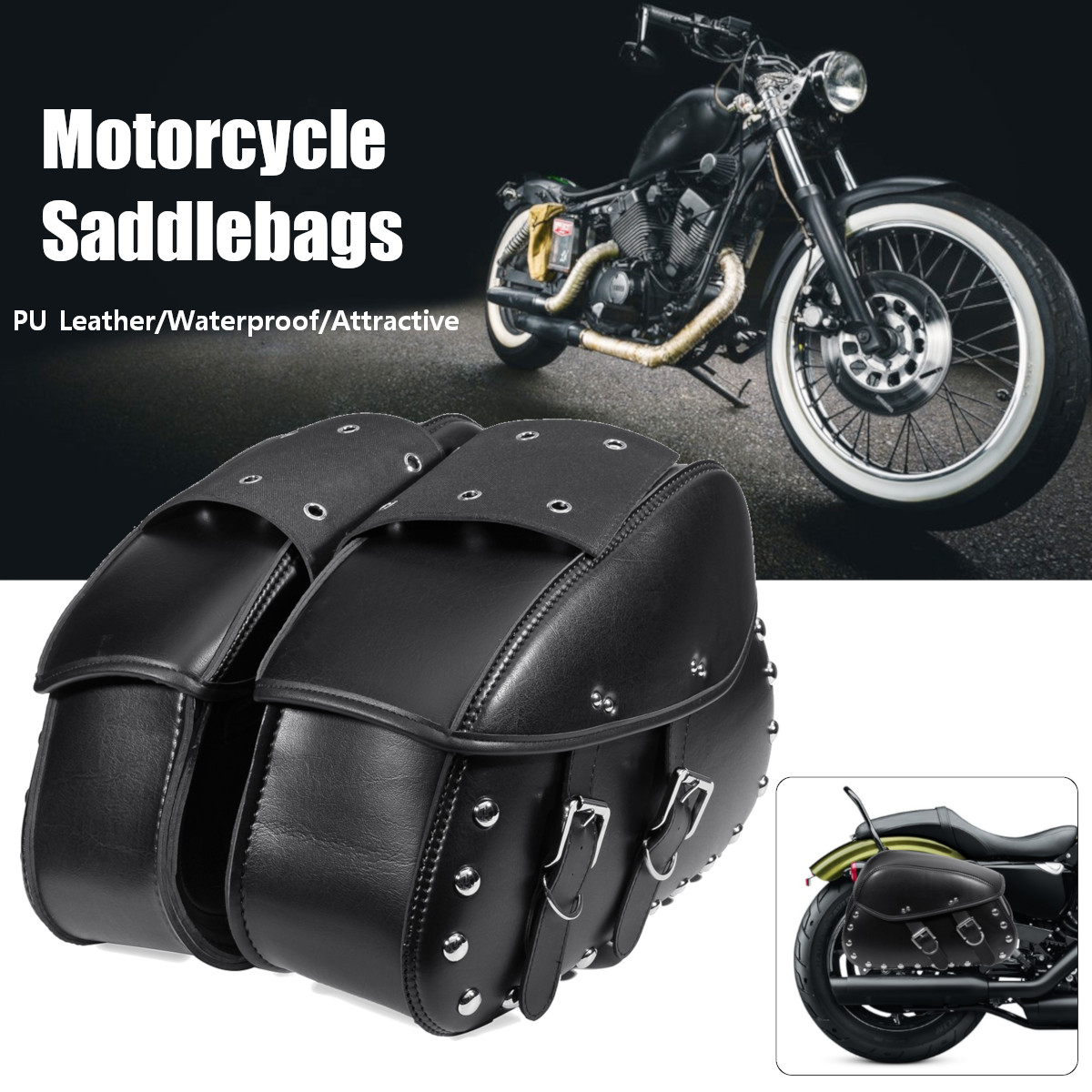 Pair Universal Motorcycle Saddlebags Leather Luggage Storage Tool Pouch Side Bag For Harley