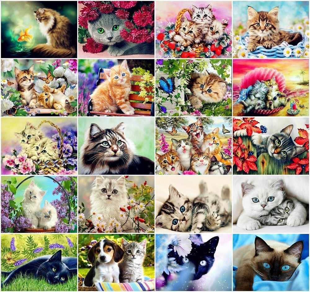 AZQSD Diamond Mosaic Cat Diamond Painting Animal Rhinestone DIY Full Square Round Diamond Embroidery Home Decoration Gift