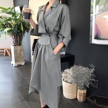 CHICEVER 2017 Autumn High Waist Hem Irregular Dress Women Three Quarter Sleeve Loose Black Dresses Clothes Fashion Vestidos New