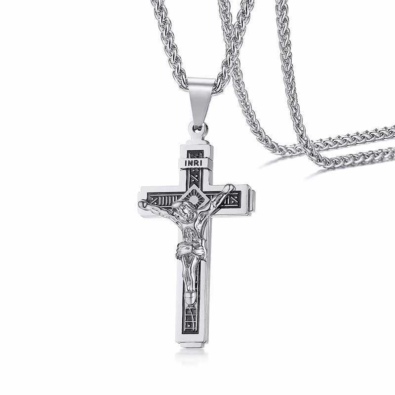 Men Crucifix INRI Cross Pendant Necklace in Silverly Stainless Steel Catholic Jesus Christ Jewelry
