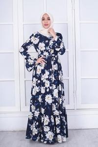 Image 2 - Elegante Muslimischen Abaya Drucken Floral Kleid Frauen Strickjacke Lange Kleid Dubai Jubah Ramadan Thobe Islamische Verehrung Gebet Kleidung