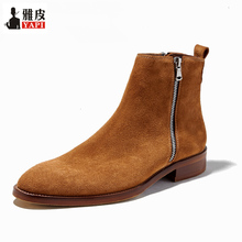 цены Trendy Warm Fur Winter Boots Men Cow Suede Leather Pointed Toe Chelsea Boots Zip Ankle Boots Man Formal Dress Shoes