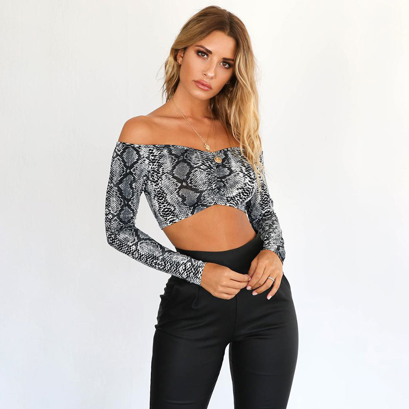 Sexy Women Crop Top Snakeskin Print Off the Shoulder Long Sleeve Bodycon Short Pullover Tops Female Party Club Blouse Blusas