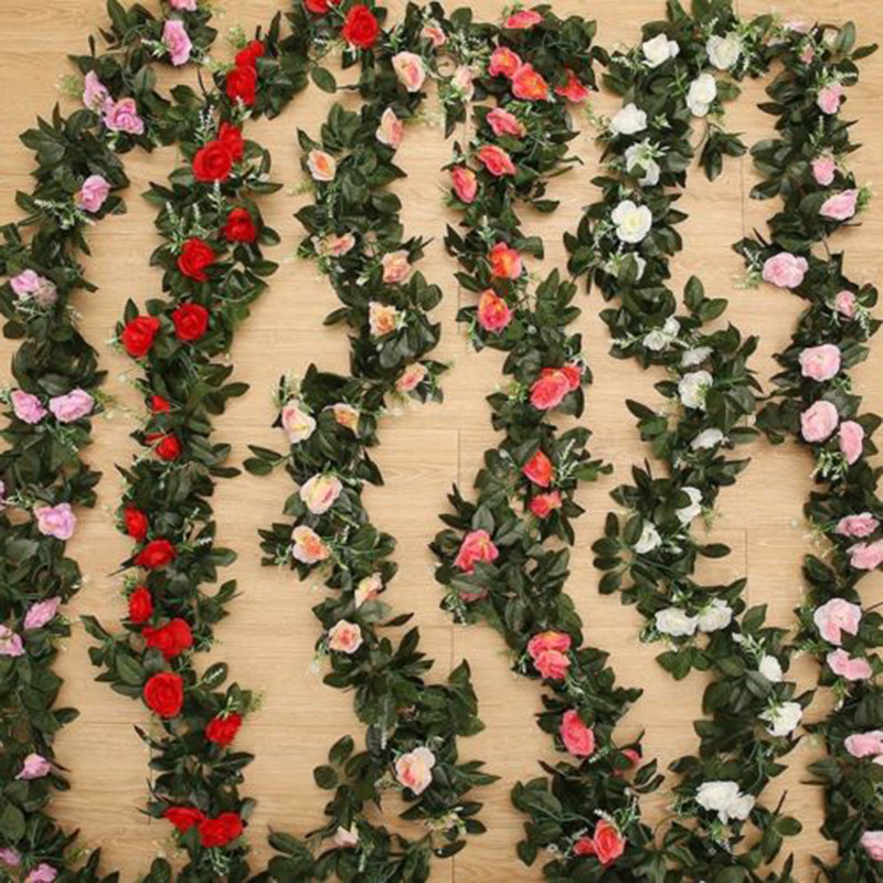 2.45m Silk Rose Flower Leaf Garland Vine Ivy Flower Home Garden Wedding Decor