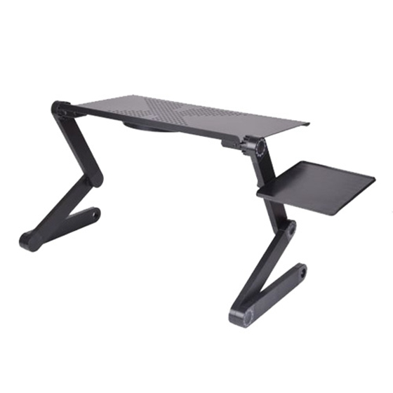 Adjustable Foldable Laptop Desk Notebook PC Desk Table Stand Bed Tray + Cooling Fan