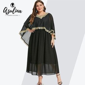 ceff10764c Rosegal Plus tamaño de encaje en contraste Maxi capa vestido recta las mujeres  ronda Collar 3 4 mangas piso-longitud vestidos de gran tamaño vestido