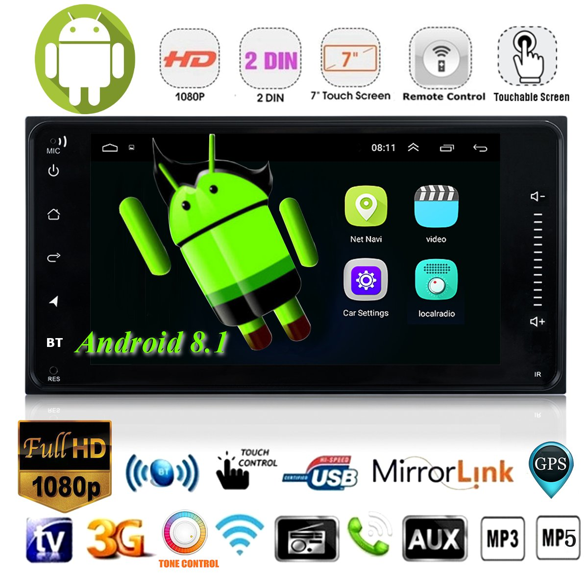 7 2 Din Android 8.1 Car DVD Player Navigation WIFI GPS Stereo bluetooth Radio Indash With Camera For Toyota Corolla Hilux RAV47 2 Din Android 8.1 Car DVD Player Navigation WIFI GPS Stereo bluetooth Radio Indash With Camera For Toyota Corolla Hilux RAV4