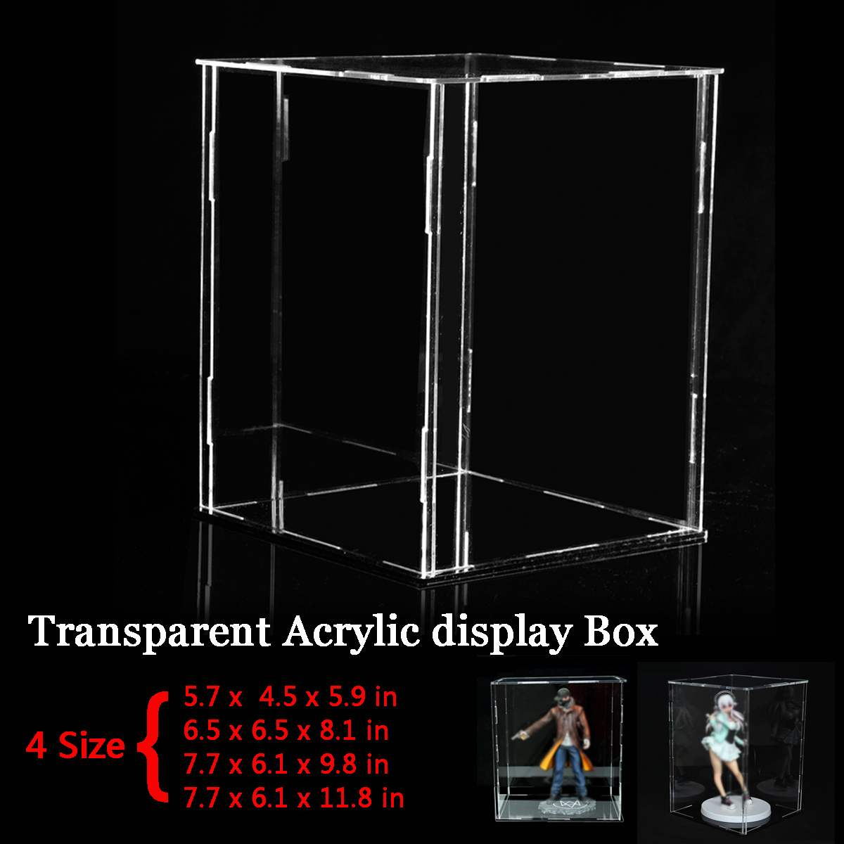 4 Size Acrylic Display Show Box Case Cube Toy Dust Proof Tray Protection Display Assembled Box Case For Children Blocks Toys