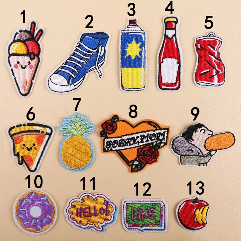 GUGUTREE embroidery love heart shoes pineapple patches foods letter patches badges applique patches for clothing YX 250 in Patches from Home Garden