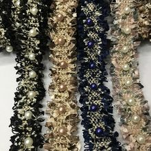 2cm Wide Handmade Beaded DIY Webbing Small Pearl Weaving Belt Accessories High Quality Sequined Tulle Lace With Beads And Stones(China)