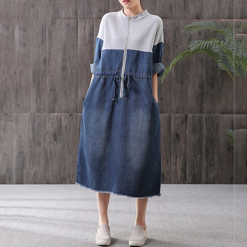 YaLee New Fashion 2019 Spring Summer Contrast Color Stand Neck Long Sleeve Zipper Rope Pockets