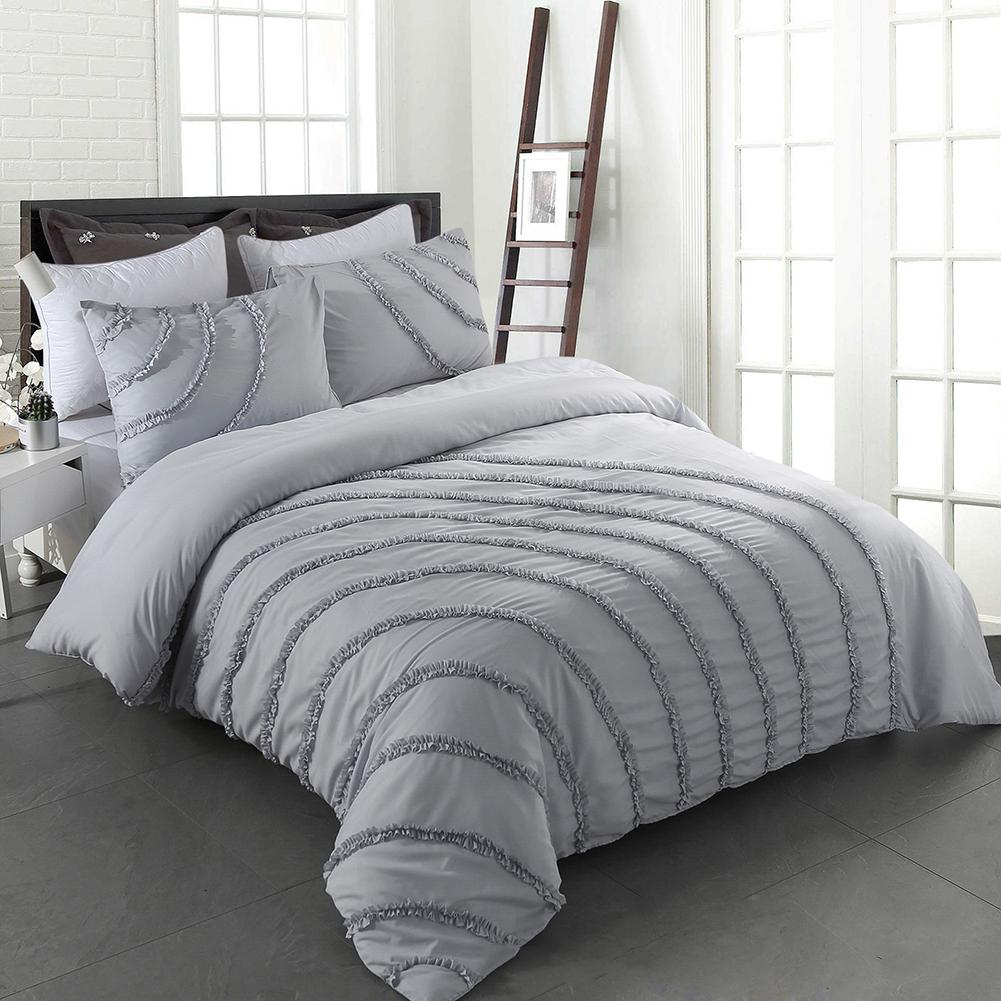 Cotton Duvet Cover Set Soft Simple Solid Design Queen Full Size Dark Gray Bedding Duvet Cover Set 3 PiecesCotton Duvet Cover Set Soft Simple Solid Design Queen Full Size Dark Gray Bedding Duvet Cover Set 3 Pieces