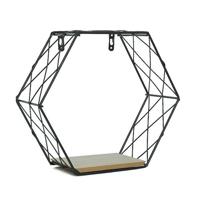 Iron Hexagonal Grid Wall Shelf Combination Wall Hanging Geometric Figure Wall Decoration For Living Room Bedroom 1
