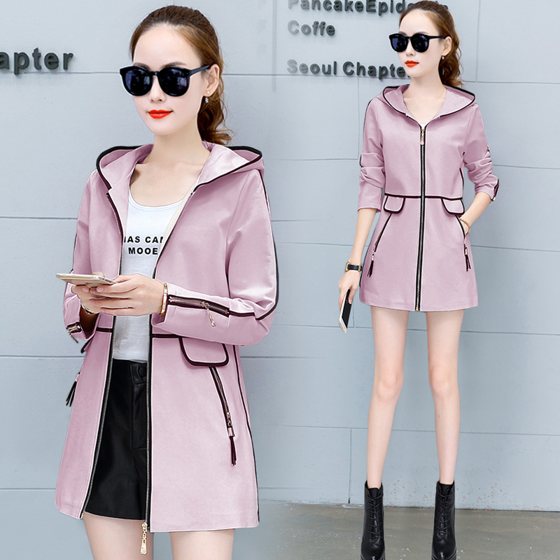 The new spring in the spring and autumn coat female han edition joker leisure   trench   coat thin coat women's long boom in the spr