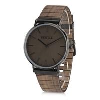 Homens De Quartzo Relógio De Madeira BEWELL ZS-W001S Leather Strap Relógio de Pulso