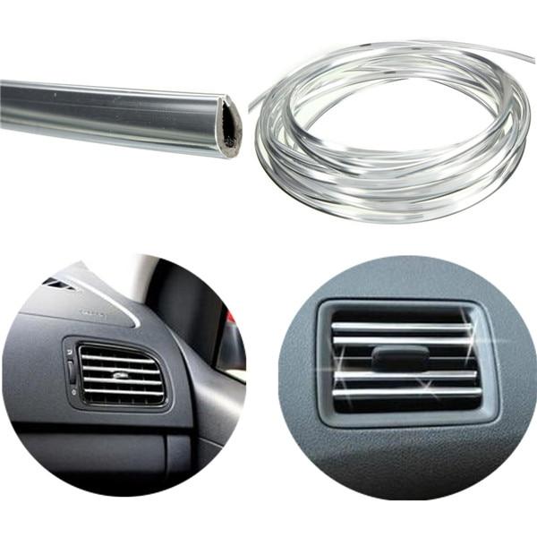 4m U Shape Air Vent Outlet Car Grille Switch Rim Chrome Trim Strip Moulding