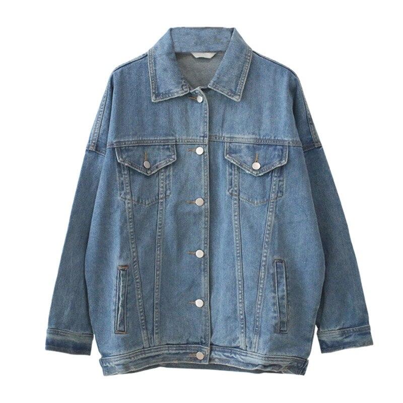 Solid Turn-down Collar Jean Jacket For Women Loose Casual Boyfriend Blue Women Coats Female Denim Outwear Feminine Plus Size 4XL