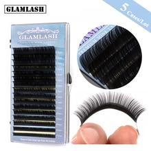 GLAMLASH 5Cases Wholesale 7-15mm Mix Tray Natural Synthetic Mink Individual Lash Eyelash Extension Makeup Cilia Professional Use