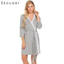 Ekouaer Frauen Robe Langarm V ausschnitt Spitze getrimmt Nachthemden Gürtel Nachtwäsche Roben Bademantel Gowm Dressing Weibliche Homewear
