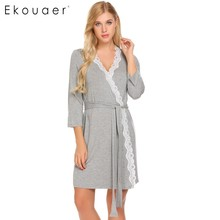 Ekouaer Women Robe Long Sleeve V Neck Lace trimmed Nighties Belt Sleepwear Robes Bathrobe Gowm Dressing Female Homewear