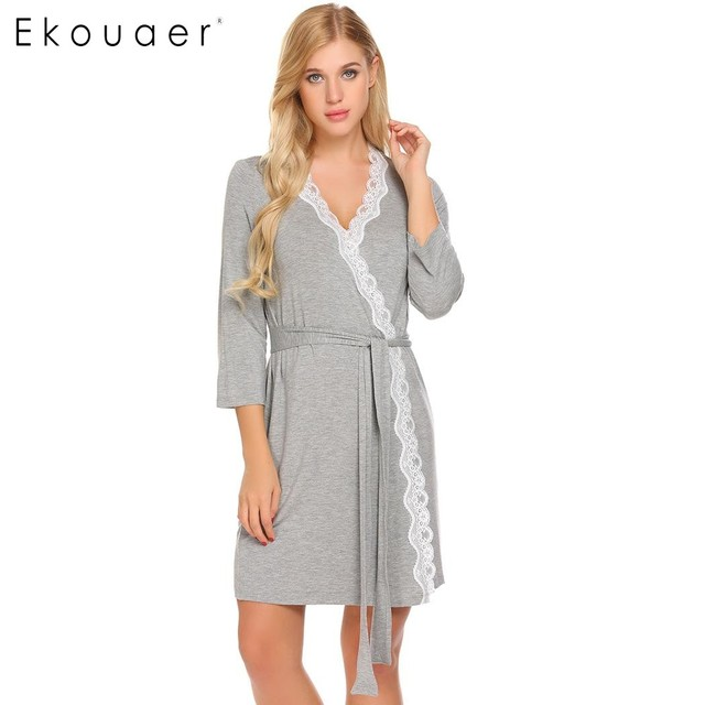 Ekouaer Women Robe Long Sleeve V-Neck Lace-trimmed Nighties Belt Sleepwear Robes  Bathrobe Gowm Dressing Female Homewear 4f22fb35a