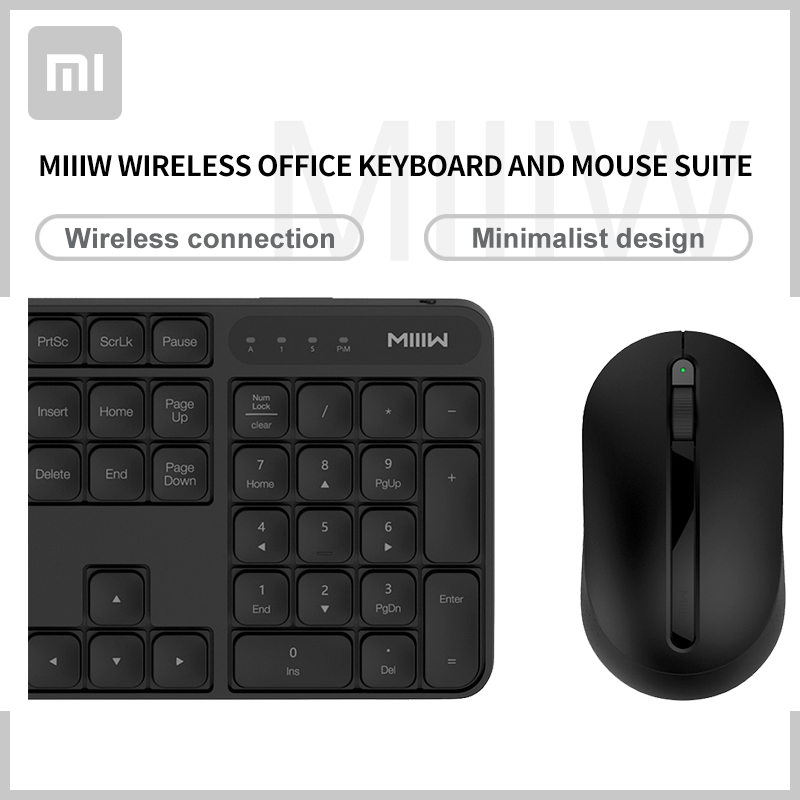 Original Xiaomi Miiiw Wireless office mouse keyboard set RF 2 4G 1000dpi Computer Laptop mouse Keyboard