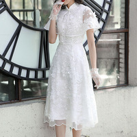 2019 spring and summer new arrival princess dress organza embroidered temperament lady dress 90020