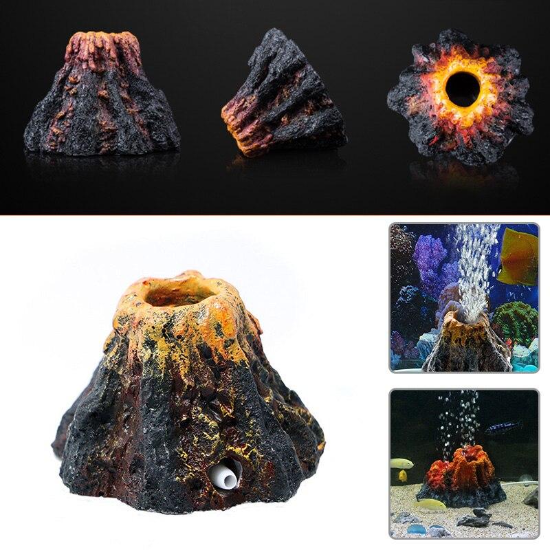 Lagere Prijs Met Aquarium Ornament Hars Ornament Zuurstof Pomp Air Pumpair Simulatie Bubble Steen Aquarium Vulkaan Vorm Decoratie Speelgoed