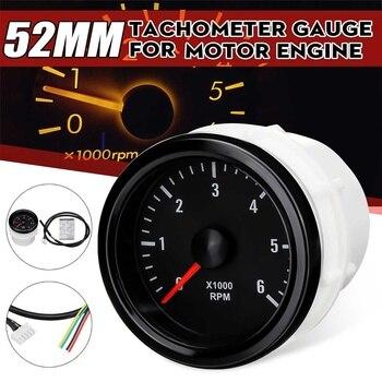 12V 52mm 0-6000 RPM (On dash) White Electrical Tachometer Gauge For Diesel Motor Engine