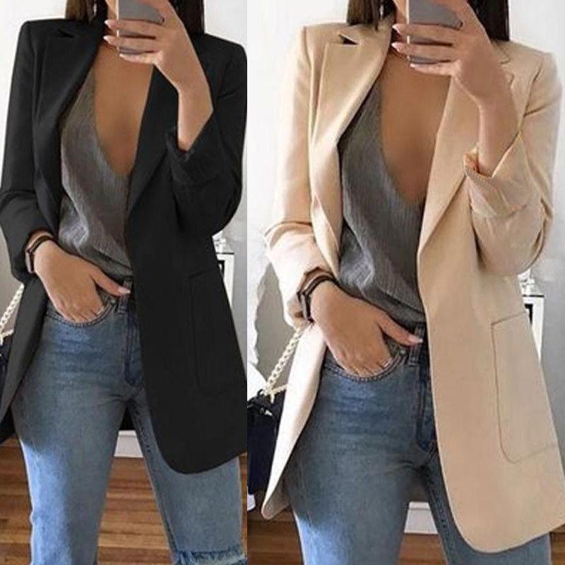 Hirigin Brand 2019 New Arrival Women Ladies Long Sleeve Cardigan Slim Jackets Suit Coat Work Jacket Casual Mid Coat Lapel