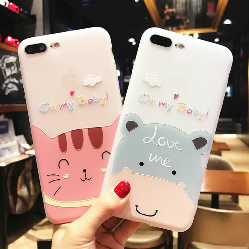 XINDIMAN 3D relief phone cover for iphone case7 7plus Cartoon cat hippo cute case iphoneX XSMAX XR 8 8plus 6 6s 6plus fundas