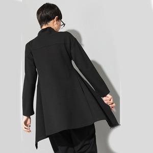 Image 5 - [EAM] 2020New Spring Autumn  High Collar Long Sleeve Black Irregular Hem Loose T shirt Women Fashion Tide All match JK397