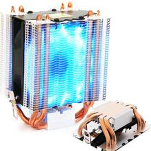 4 Pcs Heatpipe Radiator Biru LED Hydraulic Bearing Tenang 3pin CPU Cooler Fan Heatsink untuk Intel(China)