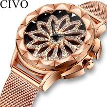 CIVO Fashion Ladies Watch Waterproof Mesh Strap Women Watches For Wrist Rose Gold Diamond Rotating Stylish reloj mujer