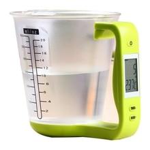 Горячие мерный стакан Кухня цифровые весы стакан весы электронные Масштаб Инструмент с ЖК-дисплей Дисплей Температура чашки измерения