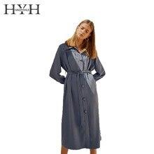 цена на HYH HAOYIHUI New Women  Dress Simplicity Elegant  Pleated Belt Trim  Long Sleeve Shirt