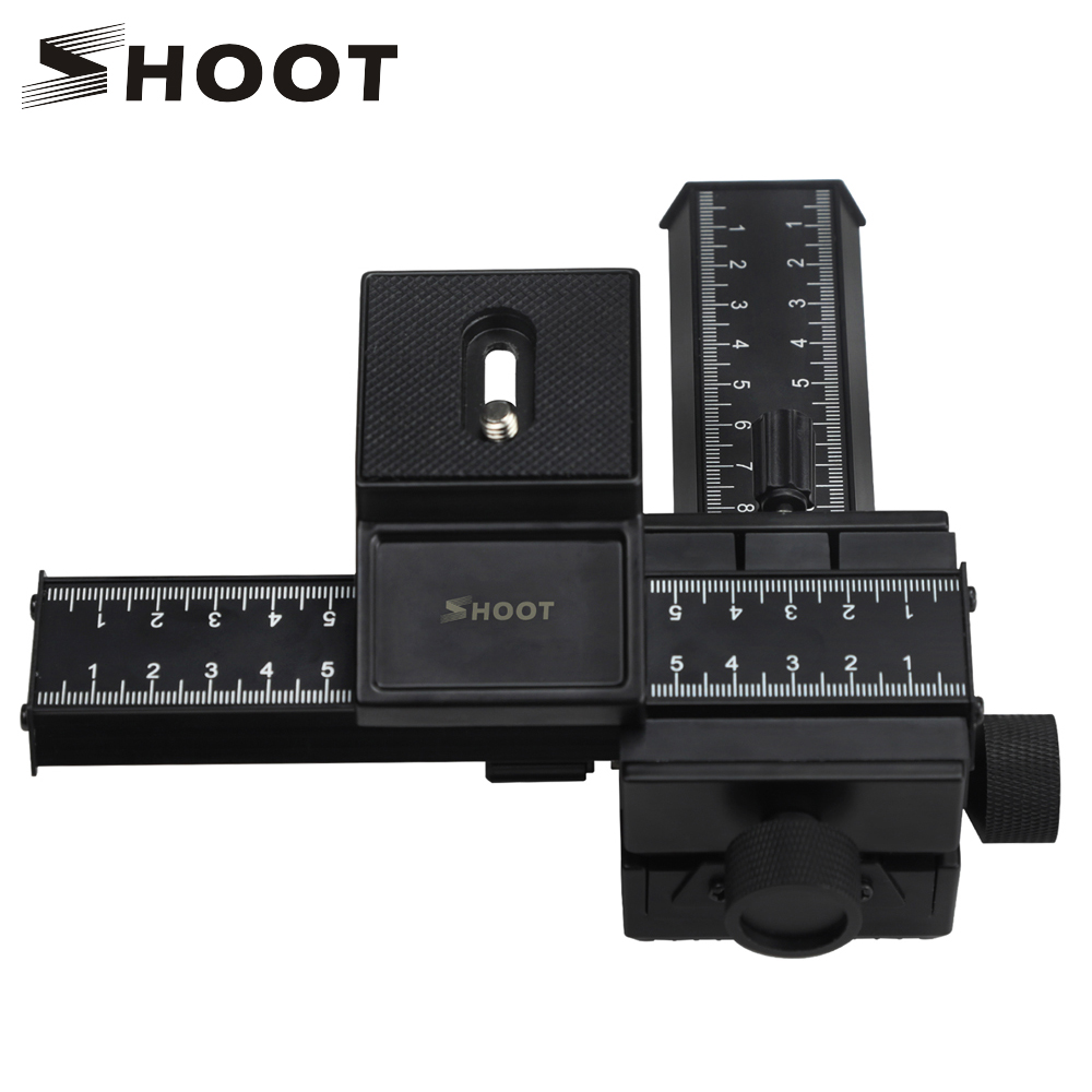 SHOOT 4 Way Macro Focusing Rail Slider Gimbal for Nikon Canon Samsung Sony DSLR Camera Gimbal Mount DC with Standard 1/4 Screw