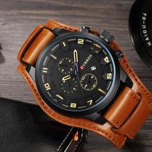 Curren Men's Casual Sport Quartz Watch Mens Watches Top Brand Luxury Quartz-Watch Leather Strap Military Watch Wrist Male Clock charles hubert paris mens quartz watch 3771 b