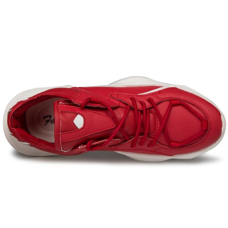 Rendas Zapatillas Black De Caminhada Pu Ao Da Sapatos Homens Dos Hombre Tênis Pai Livre Couro Até Casuais Respirável white red Ar Moda gHSPwqZxnX