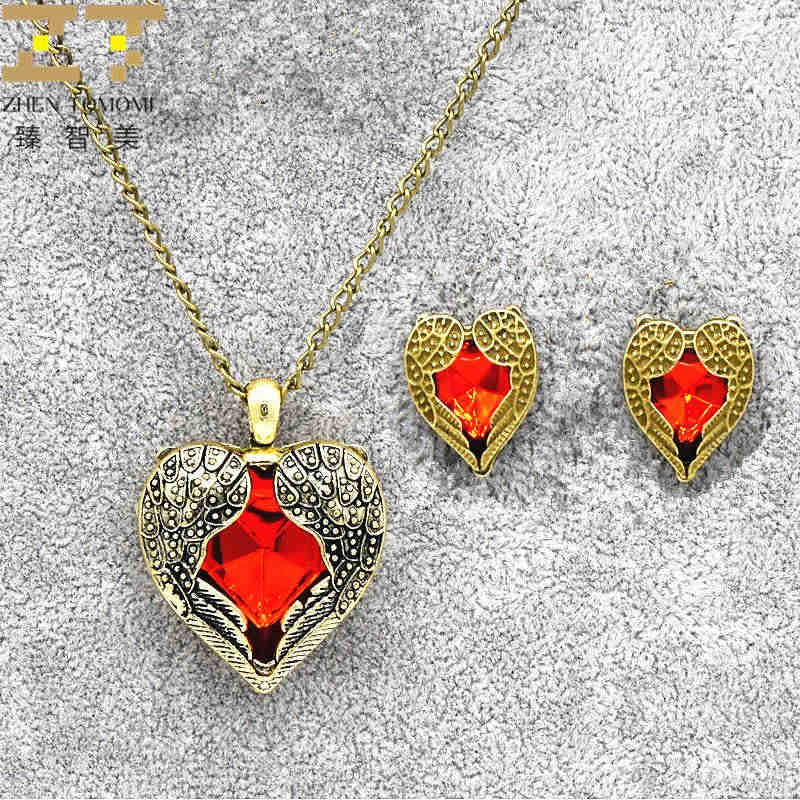 2018 Fashion Red Rhinestone Retro Wings Peach Heart Crystal Pendant Necklace/earrings For Women Jewelry Sets Bride Wedding Party