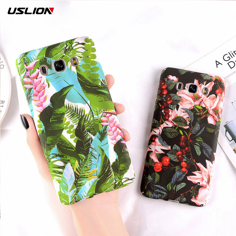 USLION Matte Flower Leaf Phone Case For A5 2017 J5 J7 2017 A5 2016 A7 2017 For Samsung Galaxy S9 S8 Plus Hard Plastic Cover