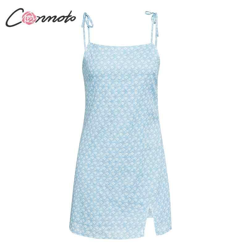 Conmoto Летнее платье с цветочным принтом, комбинированное короткое платье в стиле бохо, сексуальное платье на тонких бретельках, пляжное платье с открытой спиной, сарафан на тонких бретельках